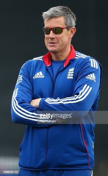 England Coach Ashley Giles looks on during an England nets session ahead of the one day international series against New Zealand at Lord's Cricket...
