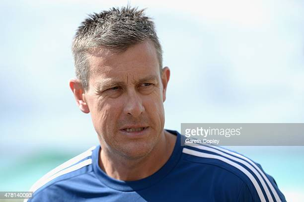 England coach Ashley Giles speaks the media during a press conference at the team hotel on March 12 2014 in Bridgetown Barbados
