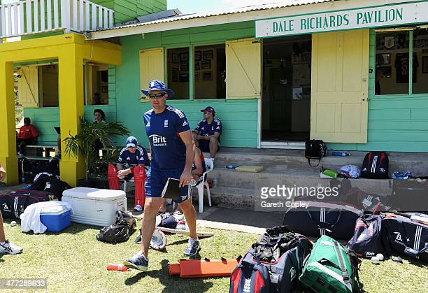 England coach Ashley Giles walks from the changing rooms during a nets session at Isolation Cricket Club on March 8 2014 in Bridgetown Barbados