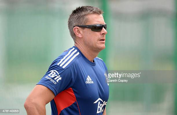 England coach Ashley Giles watches on during a nets session at Kensington Oval on March 12 2014 in Bridgetown Barbados