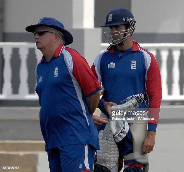 England coach Duncan Fletcher and captain Michael Vaughan during a nets session at the Police Sports Ground Bridgetown Barbados