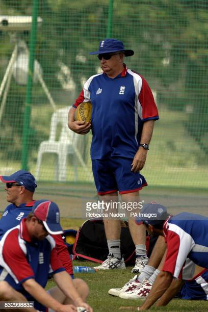 England coach Duncan Fletcher during a nets session at the Police Sports Ground Bridgetown Barbados