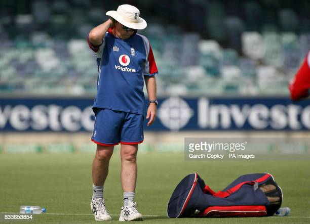 England coach Duncan Fletcher during a nets session at the WACA Perth Australia