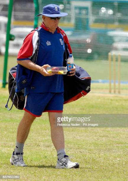 England coach Duncan Fletcher walks to the team bus after a nets session at the Police Sports Ground Bridgetown Barbados