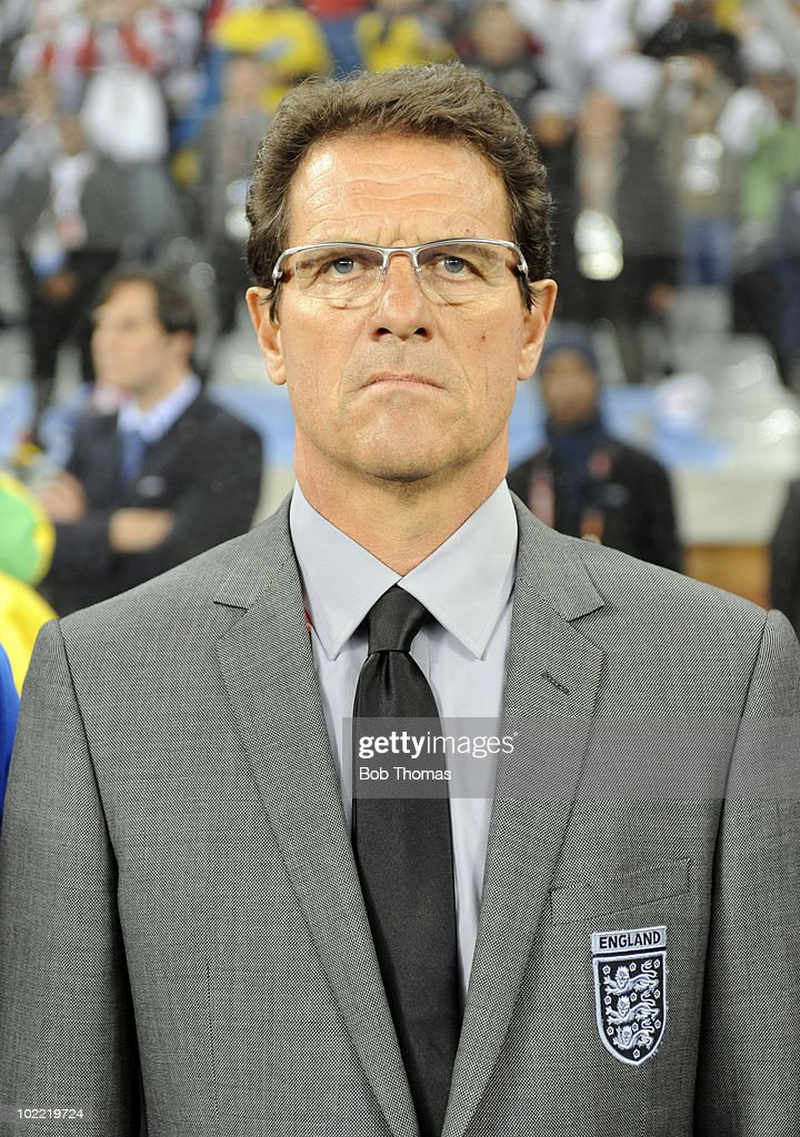 England coach <a gi-track='captionPersonalityLinkClicked' href=/galleries/search?phrase=Fabio+Capello&family=editorial&specificpeople=241290 ng-click='$event.stopPropagation()'>Fabio Capello</a> before the start of the 2010 FIFA World Cup South Africa Group C match between England and Algeria at Green Point Stadium on June 18, 2010 in Cape Town, South Africa. The match was drawn 0-0.