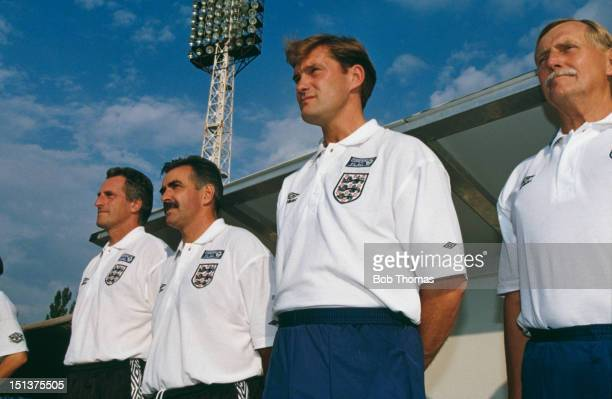 England coach Glen Hoddle with his staff at a World Cup Europe Qualifying Round Group 2 match against Moldova Kishinev Moldova 1st September 1996...