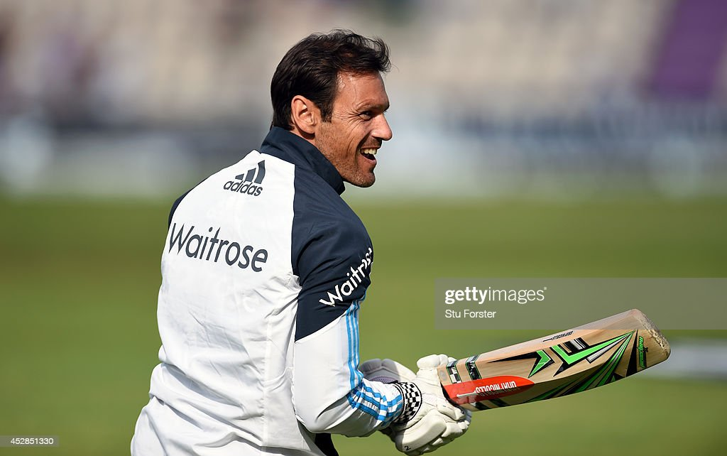 England coach <a gi-track='captionPersonalityLinkClicked' href=/galleries/search?phrase=Mark+Ramprakash&family=editorial&specificpeople=240276 ng-click='$event.stopPropagation()'>Mark Ramprakash</a> raises a smile during day two of the 3rd Investec Test at Ageas Bowl on July 28, 2014 in Southampton, England.