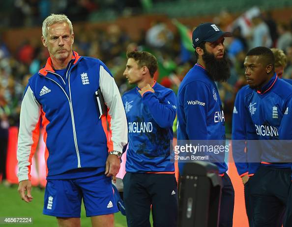 England coach Peter Moores at the end of the 2015 ICC Cricket World Cup match between England and Bangladesh at Adelaide Oval on March 9 2015 in...