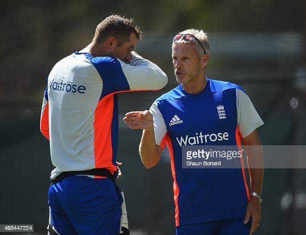 England coach Peter Moores talks with Alex Hales during an England nets session at Adelaide Oval on March 7 2015 in Adelaide Australia