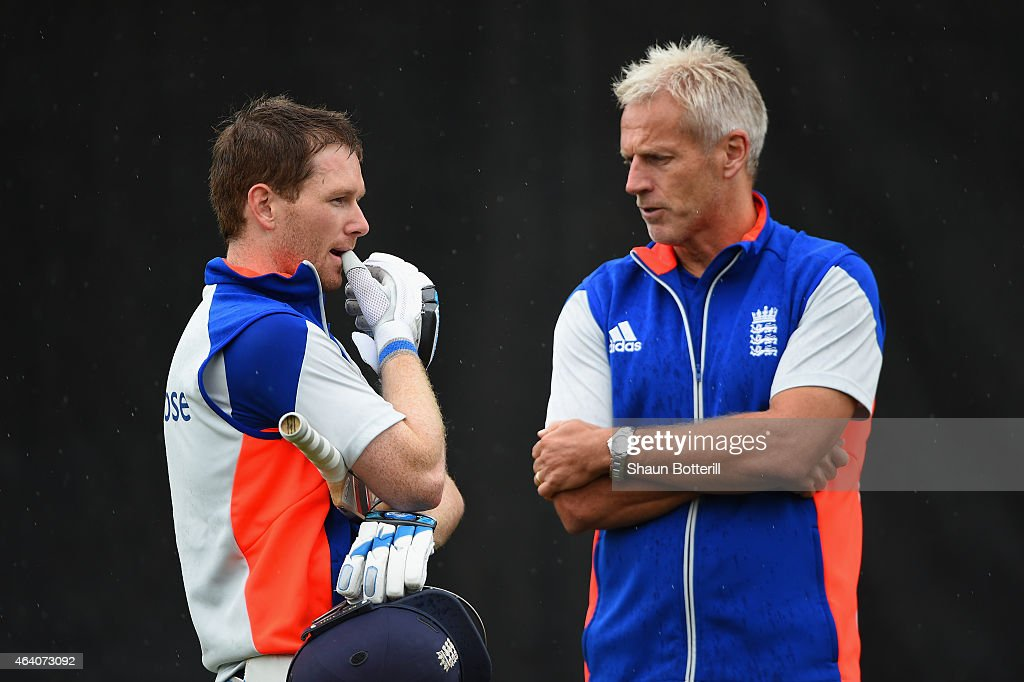 England coach Peter Moores talks with captain Eoin Morgan during an England nets session at Hagley Park Oval on February 22 2015 in Christchurch New...