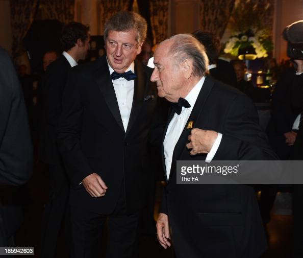 England Coach Roy Hodgson talks to Joseph Blatter FIFA President during the FA150 Gala Dinner commemorating the Football Association's 150th year at...