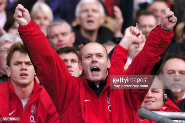 England Coach Sir Clive Woodward celebrating Englands first try during the RBS Six Nations match between England and Wales at the Twickenham Stadium...