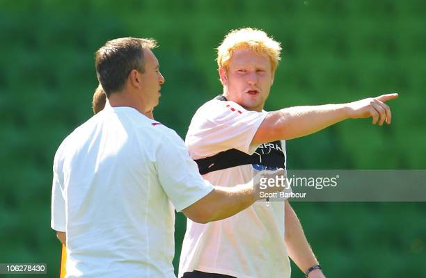 England coach Steve McNamara and James Graham talk during an England Four Nations training session at AAMI Park on October 28 2010 in Melbourne...