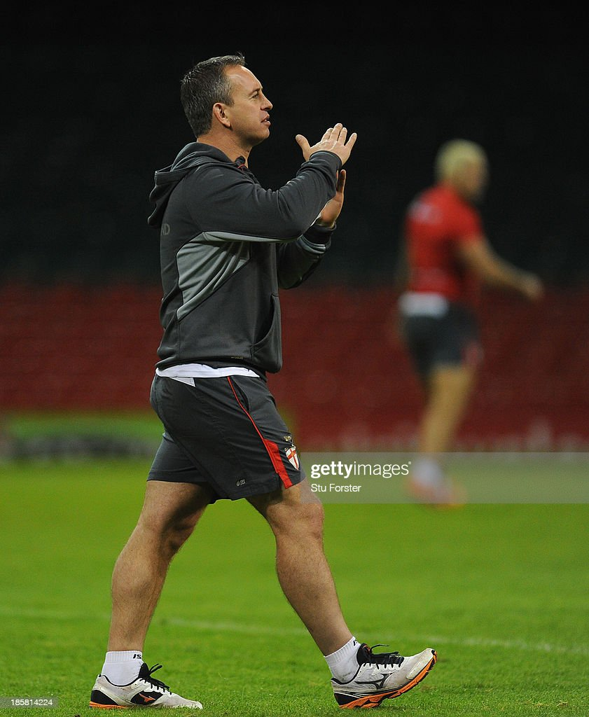 England coach Steve McNamara looks on during the England captains run, ahead of tomorrows opening match of the 2013 Rugby League World Cup against Australia at Millennium Stadium on October 25, 2013 in Cardiff, Wales.