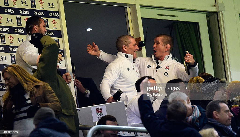 England coach <a gi-track='captionPersonalityLinkClicked' href=/galleries/search?phrase=Stuart+Lancaster&family=editorial&specificpeople=2263180 ng-click='$event.stopPropagation()'>Stuart Lancaster</a> (c) and <a gi-track='captionPersonalityLinkClicked' href=/galleries/search?phrase=Graham+Rowntree&family=editorial&specificpeople=215047 ng-click='$event.stopPropagation()'>Graham Rowntree</a> (r) celebrate victory from their box during the RBS Six Nations match between Wales and England at Millenium Stadium on February 6, 2015 in Cardiff, Wales.