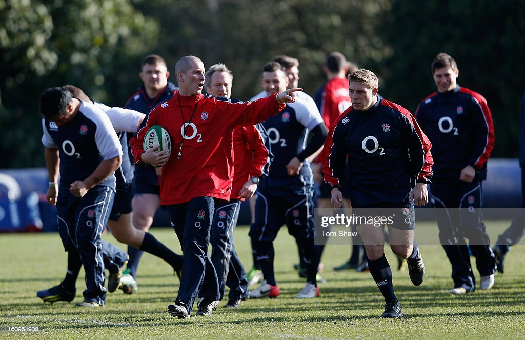England coach Stuart Lancaster during the England training session at Pennyhill Park on February 8, 2013 in Bagshot, England.