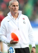 England coach Stuart Lancaster during the third test match between South Africa and England at Nelson Mandela Bay Stadium on June 23 2012 in Port...