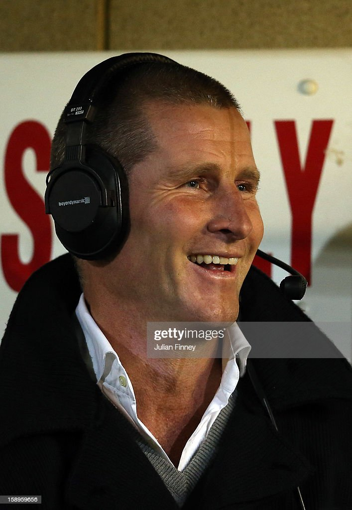 England coach <a gi-track='captionPersonalityLinkClicked' href=/galleries/search?phrase=Stuart+Lancaster&family=editorial&specificpeople=2263180 ng-click='$event.stopPropagation()'>Stuart Lancaster</a> is interviewed during the Aviva Premiership match between Worcester Warriors and Leicester Tigers at Sixways Stadium on January 4, 2013 in Worcester, England.