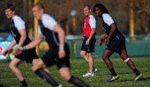 England coach Stuart Lancaster looks on during England rugby training at the club de Gimnasia y Esgrima on June 11 2013 in Buenos Aires Argentina