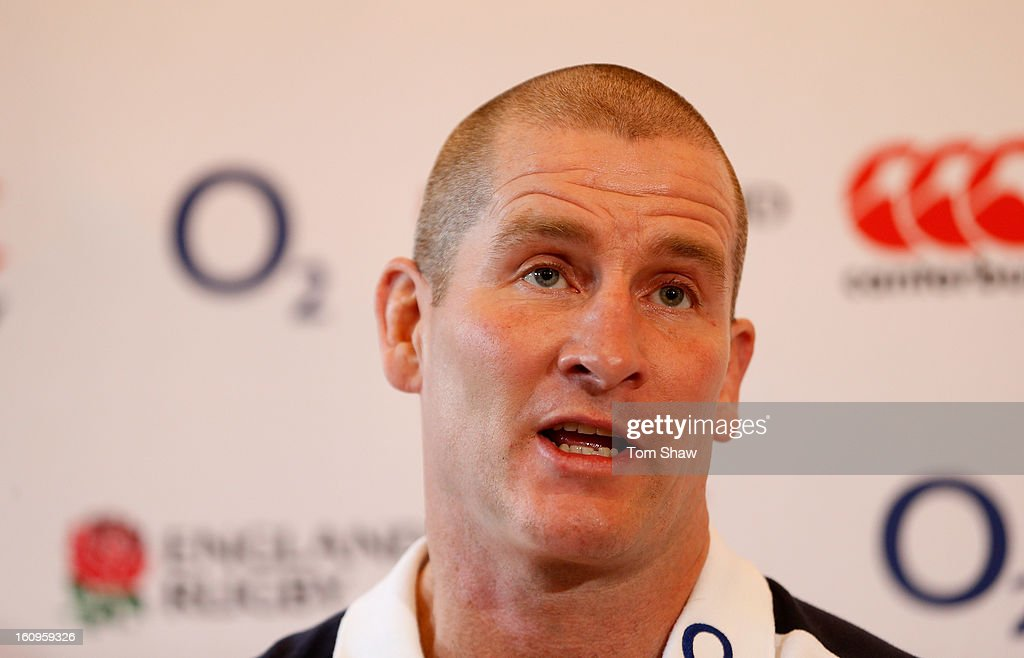 England coach Stuart Lancaster talks to the press during the England training session at Pennyhill Park on February 8, 2013 in Bagshot, England.