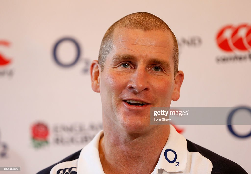 England coach <a gi-track='captionPersonalityLinkClicked' href=/galleries/search?phrase=Stuart+Lancaster&family=editorial&specificpeople=2263180 ng-click='$event.stopPropagation()'>Stuart Lancaster</a> talks to the press during the England training session at Pennyhill Park on February 8, 2013 in Bagshot, England.