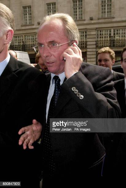 England coach Sven Goran Eriksson arrives at the Cafe Royal in Regent Street where he was due to give a talk on leadership to businessmen As he...