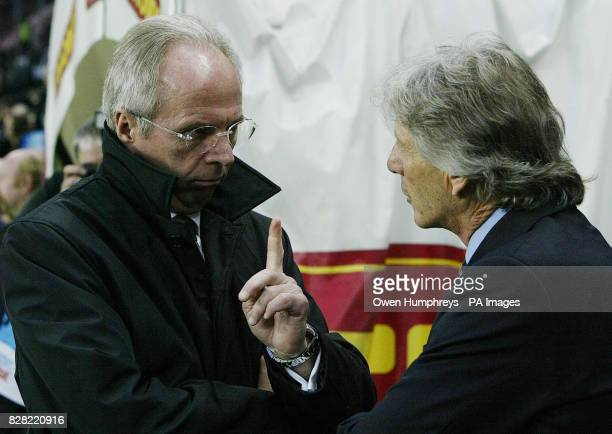 England coach SvenGoran Eriksson talks with Argentina's coach Jose Pekerman before the International friendly match at the Stade de Geneve Geneva...