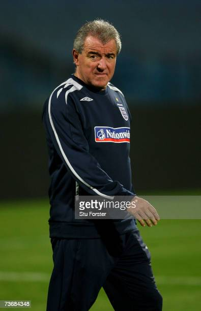 England coach Terry Venables looks on during England training today at The Ramat Gan Stadium ahead of tomorrows Euro 2008 Qualifier against Israel on...