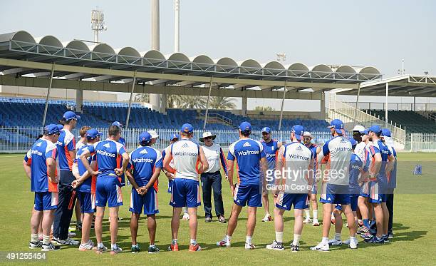 England coach Trevor Bayliss speaks to his team ahead a net session at Sharjah Cricket Stadium on October 4 2015 in Sharjah United Arab Emirates