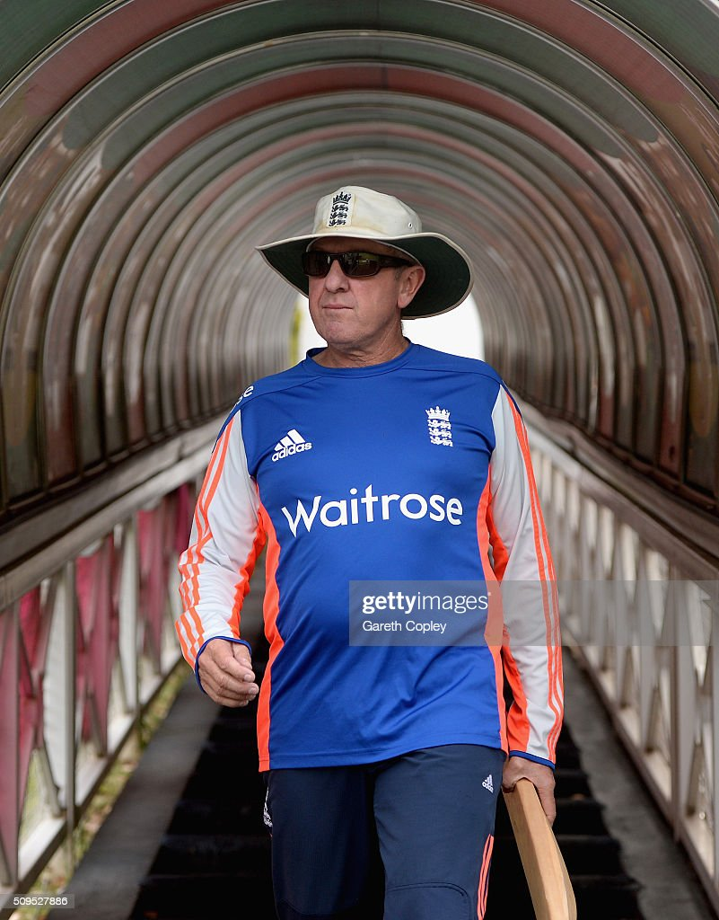 England coach <a gi-track='captionPersonalityLinkClicked' href=/galleries/search?phrase=Trevor+Bayliss+-+Cricket+Coach&family=editorial&specificpeople=14620221 ng-click='$event.stopPropagation()'>Trevor Bayliss</a> walks from the tunnel ahead of a nets session at Bidvest Stadium on February 11, 2016 in Johannesburg, South Africa.