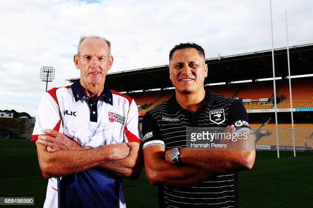England coach Wayne Bennett and New Zealand Kiwis coach David Kidwell pose for a photo following a Rugby League World Cup press conference at Mt...