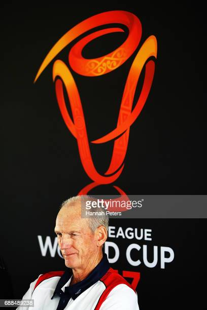 England coach Wayne Bennett speaks to the media during a Rugby League World Cup press conference at Mt Smart Stadium on May 26 2017 in Auckland New...