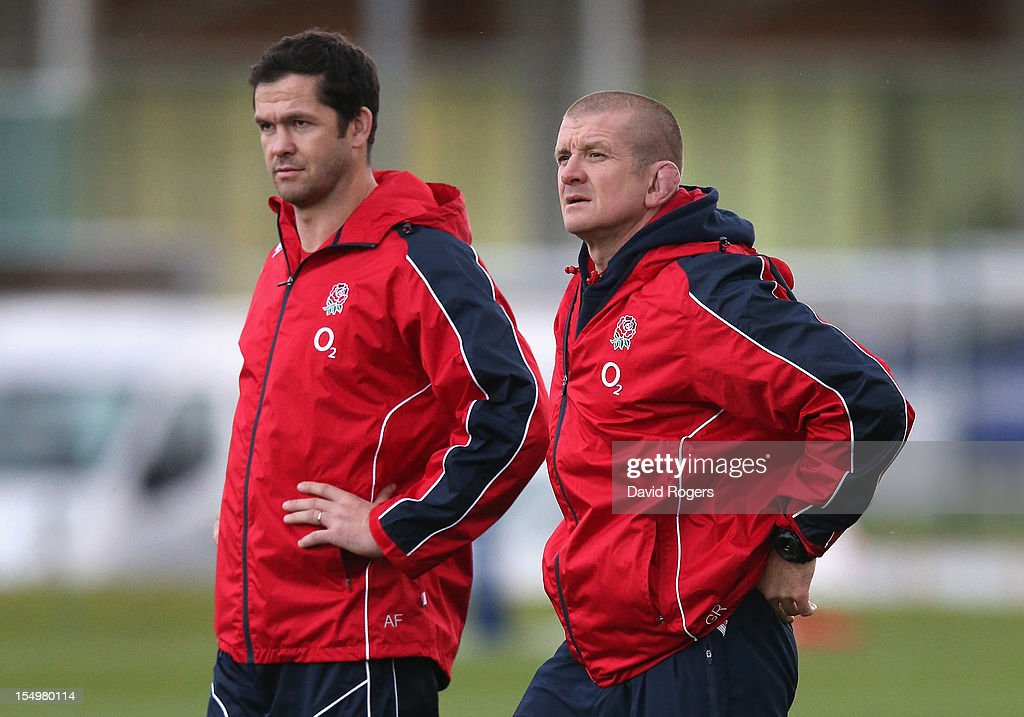 England coaches Graham Rowntree (R) and Andy Farrell look on during the England training session held at St Georges Park on October 29, 2012 in Burton-upon-Trent, England.