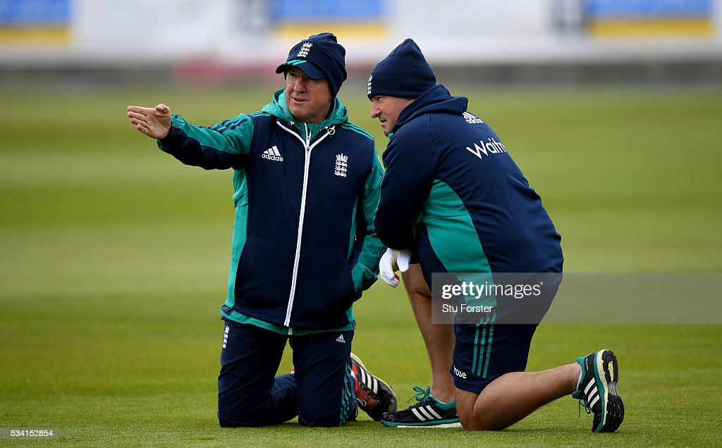 England coaches <a gi-track='captionPersonalityLinkClicked' href=/galleries/search?phrase=Trevor+Bayliss+-+Cricket+Coach&family=editorial&specificpeople=14620221 ng-click='$event.stopPropagation()'>Trevor Bayliss</a> (l) and <a gi-track='captionPersonalityLinkClicked' href=/galleries/search?phrase=Paul+Farbrace&family=editorial&specificpeople=3595939 ng-click='$event.stopPropagation()'>Paul Farbrace</a> chat during England Nets session ahead of the 2nd Investec Test match between England and Sri Lanka at Emirates Durham ICG on May 25, 2016 in Chester-le-Street, United Kingdom.