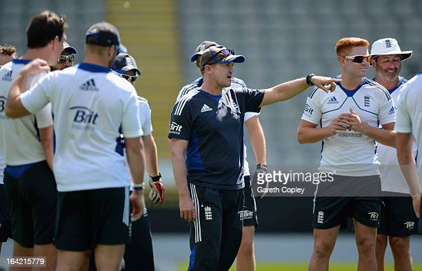 England cocch Andy Flower speaks to his players before an England nets session at Eden Park on March 21 2013 in Auckland New Zealand