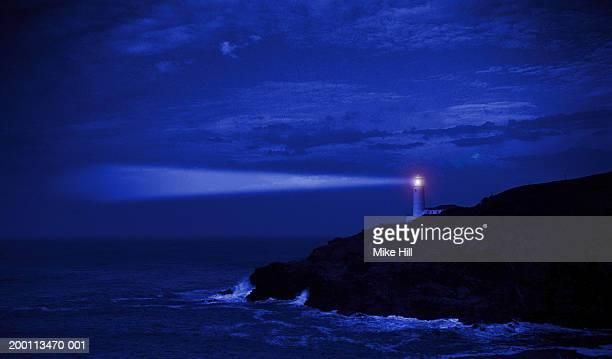 England, Cornwall, Trevose Head lighthouse, night (Digital Composite)