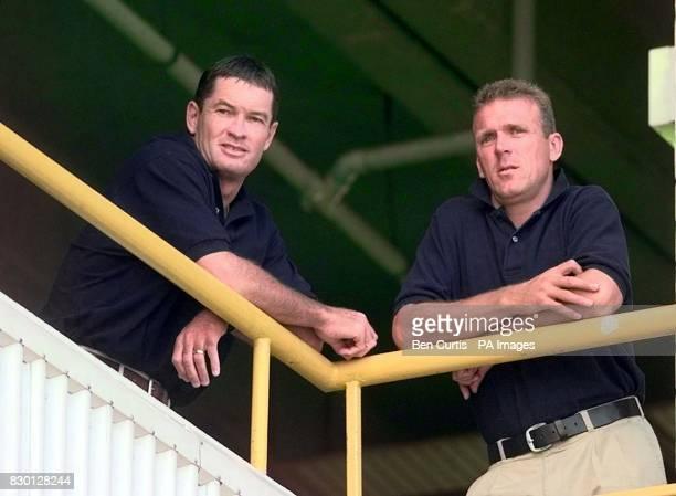 England Cricket Captain Alec Stewart batsman Graeme Hick take a break from the proceedings at the disciplinary hearing in Perth where Sri Lankan...