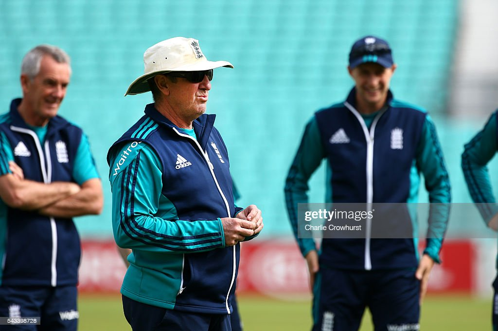 England cricket head coach Trevor Bayliss keeps and eye on the warm up during an England & Sri Lanka Nets Session at The Kia Oval on June 28, 2016 in London, England.