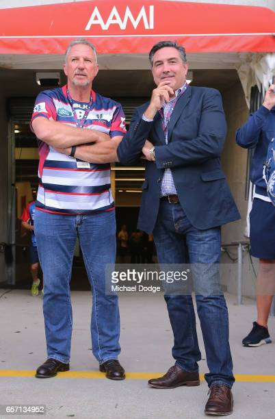 England cricket legend Ian Botham is seen dressed in a Melbourne Rebels shirt with Rebels Managing Director Andrew Cox during the round five Super...