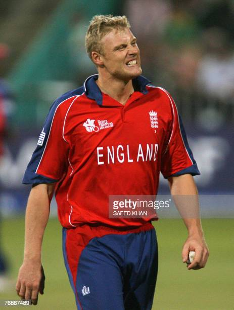 England cricket team fast bowler Andrew Flintoff reacts after being hit a boundary by Indian batsman Virender Sehwag in the ICC World Twenty20...
