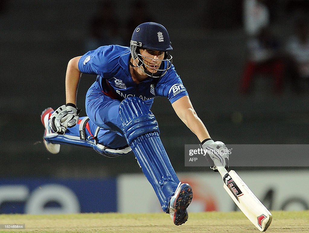 England cricketer Alex Hales runs his bat into the crease to avoid being runout during the ICC Twenty20 Cricket World Cup match between England and Afghanistan at the R. Premadasa Stadium in Colombo on September 21, 2012. Afghanistan's captain Nawroz Mangal won the toss and sent England in to bat in a group A match of the World Twenty20.