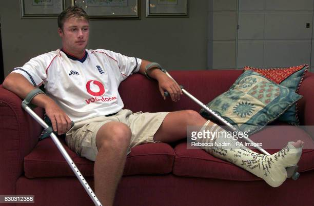 England cricketer Andrew Flintoff wearing a plastercast signed by team members relaxing at the team hotel Flintoff has a stress fracture of his left...