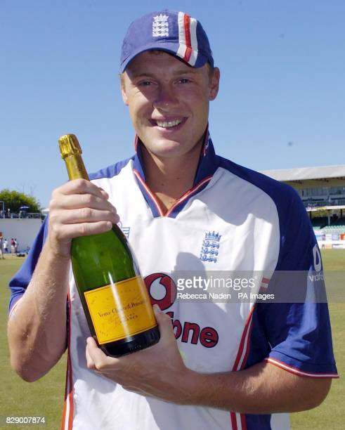 England cricketer Andrew Flintoff with a magnum of champagne at the Recreation ground St John's Antigua The Award is the TMS Brian Johnston Champagne...