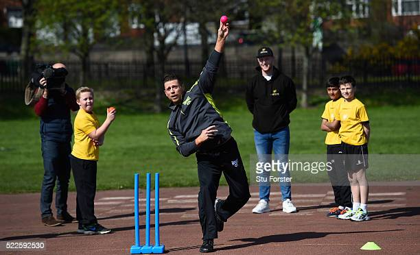England cricketer Ben Stokes teaches WWE supertar The Miz how to play cricket along on with children from Ravenswood primary school at a Chance to...