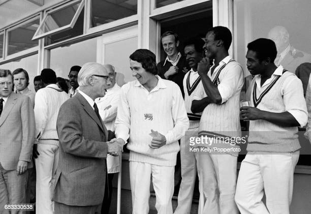 England cricketer Derek Randall enjoys a lighthearted moment after the 3rd Prudential Trophy One Day International between England and West Indies at...