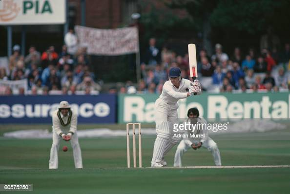 England cricketer Graeme Fowler batting against Pakistan in the 3rd Test at Headingley Leeds 26th 31st August 1982 England won the match by three...