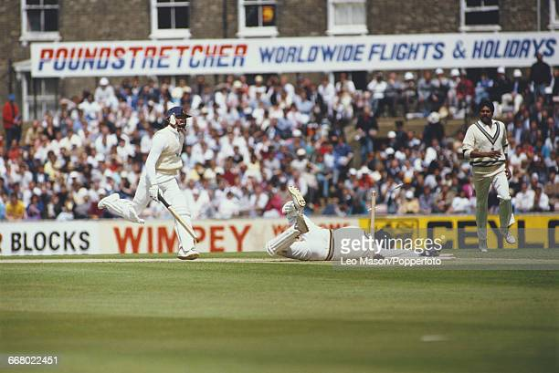 England cricketer Graeme Fowler is run out during play against India in the Texaco Trophy 1st one day international match at the Oval in London on...