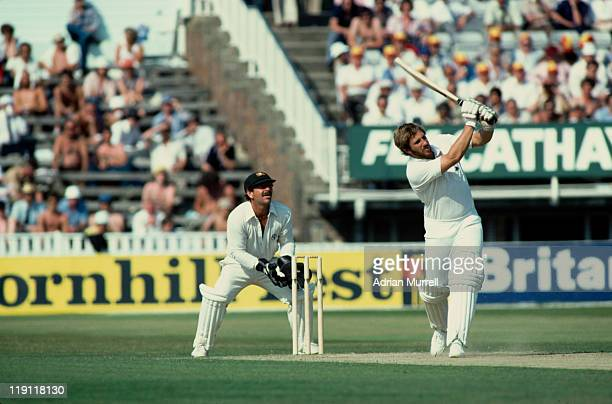 England cricketer Ian Botham hits a 4 during the 4th test match against Australia at Edgbaston in Birmingham August 1981