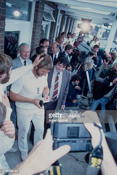England cricketer Ian Botham is congratulated as 'man of the match' after his team's victory over Australia in the 3rd test match at Headingley Leeds...