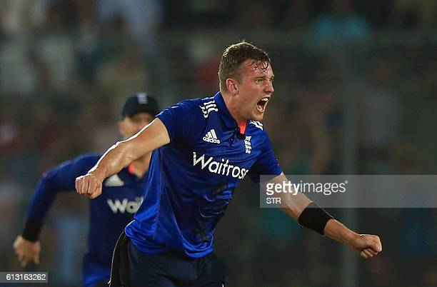 England cricketer Jake Ball celebrates the dismissal of the Bangladesh cricketer Sabbir Rahman during the first one day international cricket match...